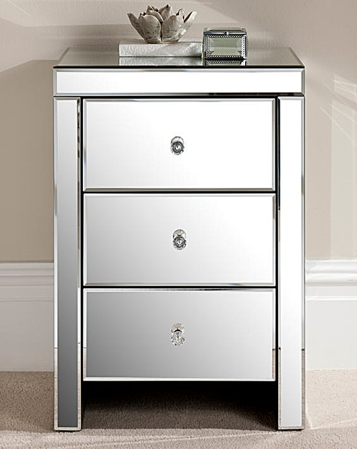 Florence mirrored 3 drawer bedside table fashion world for Mirror bedside cabinets