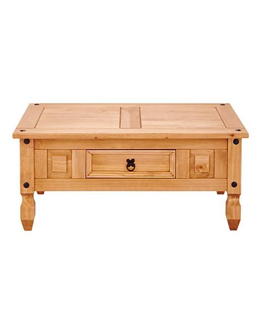 Corona solid pine storage coffee table marisota for Pine coffee table with storage