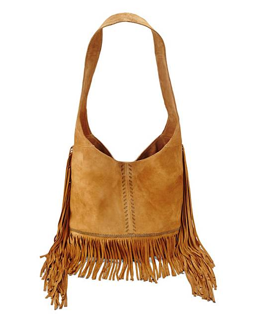 Tan Suede Fringed Shoulder Bag | Simply Be