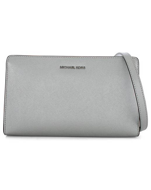 michael kors silver leather clutch bag. Black Bedroom Furniture Sets. Home Design Ideas