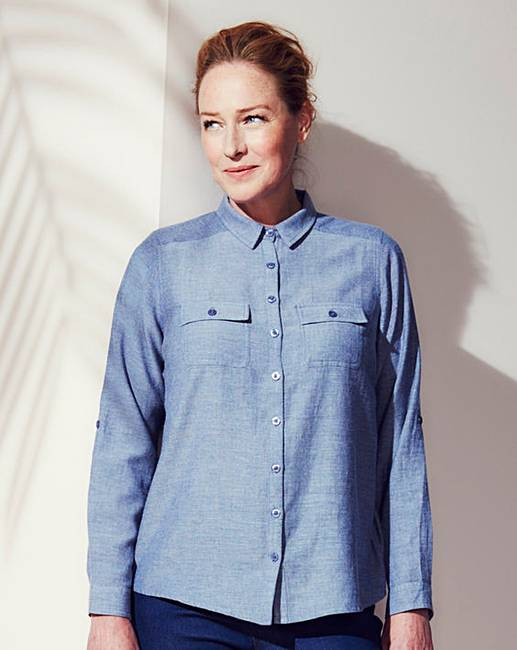 Navy chambray shirt oxendales for Cuisine you chambray