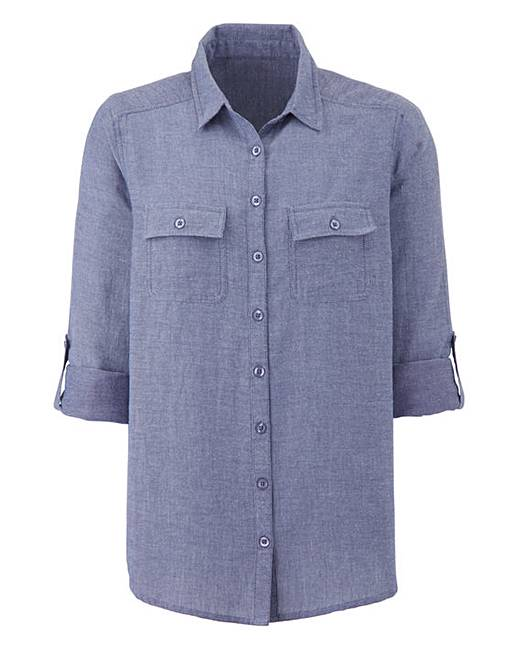 Navy chambray shirt crazy clearance for Cuisine you chambray