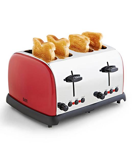 jdw 4 slice toaster red oxendales. Black Bedroom Furniture Sets. Home Design Ideas