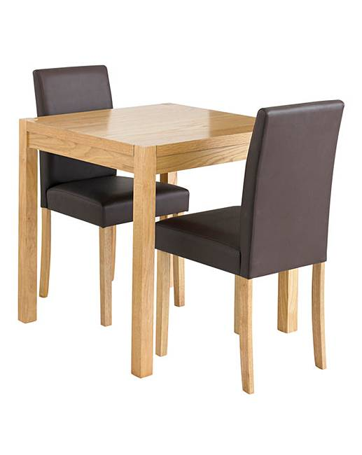 oakham oak veneer square dining table with two mia faux leather chairs