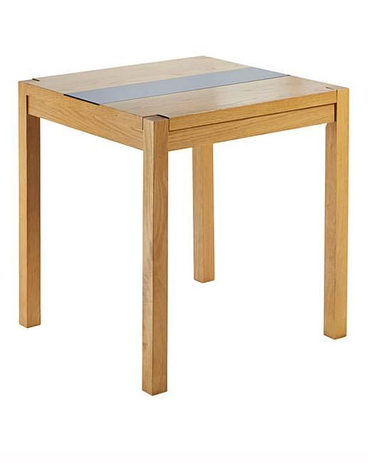 Oakham glass panel square dining table fashion world for Square glass dining table