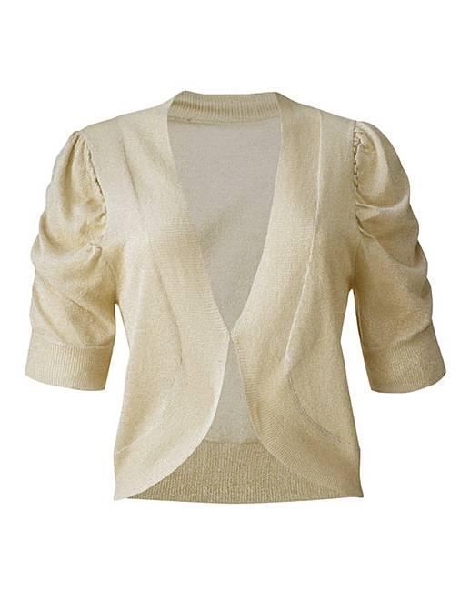 Short Sleeve Shrug Cardigan - Gold | Marisota
