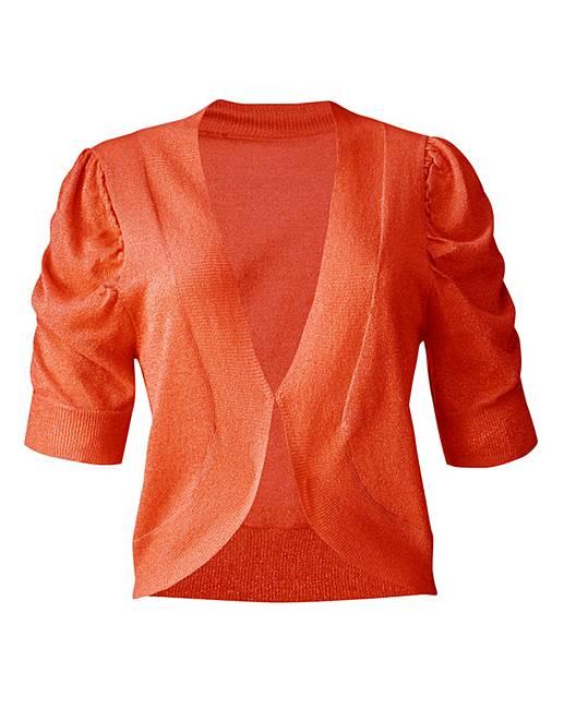Short Sleeve Shrug Cardigan - Orange | J D Williams