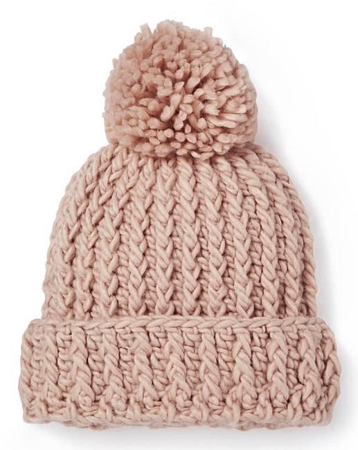 Pink Chunky Knit Bobble Hat