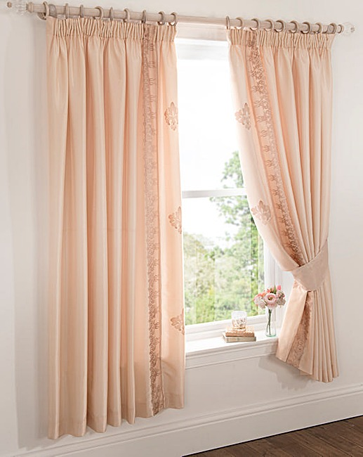 Rose Gold Damask Pencil Pleat Curtains J D Williams