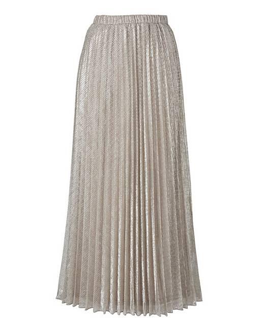 joanna metallic pleated maxi skirt oxendales