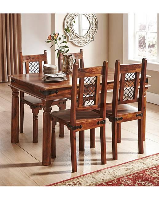 Jaipur sheesham dining table chairs j d williams