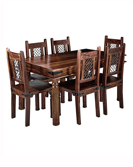 Jaipur sheesham dining table 6 chairs fifty plus for Table a manger plus 6 chaise