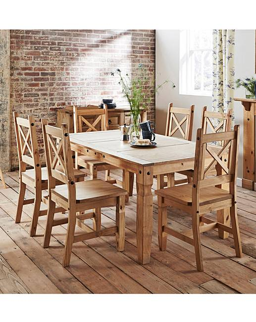 Monterrey Large Dining Table 6 Chairs Fashion World