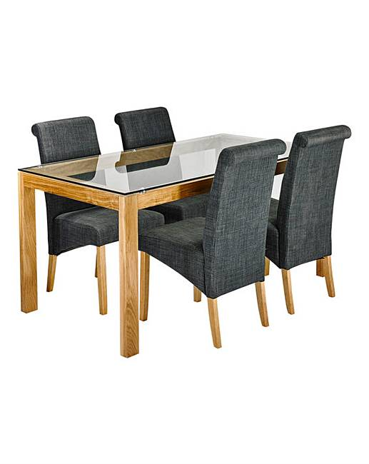 chicago oak dining table with 4 chairs fifty plus