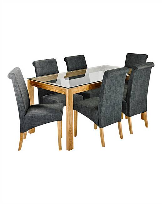 chicago oak dining table with 6 chairs marisota
