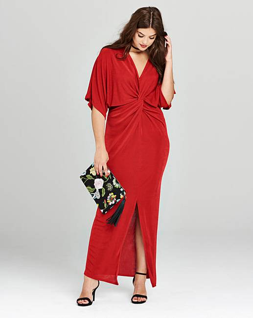 Simply Be Red Kimono Knot Front Dress | Simply Be