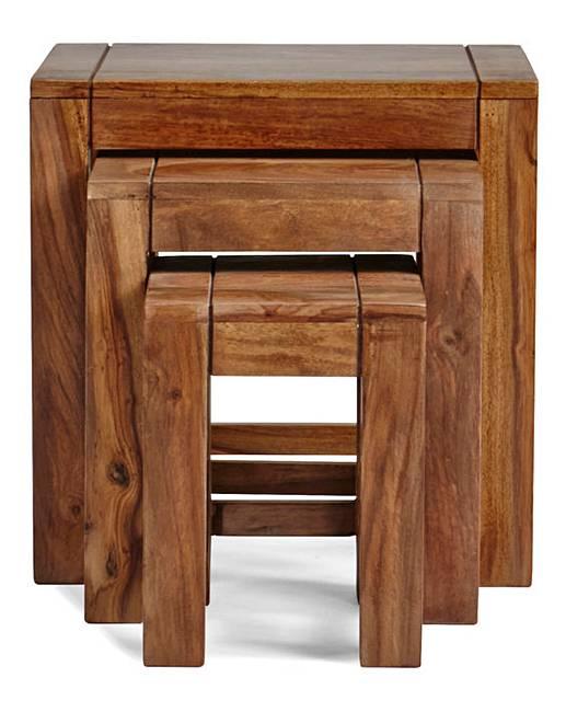 Origen Ready Assembled Sheesham Wood Nest Of Tables