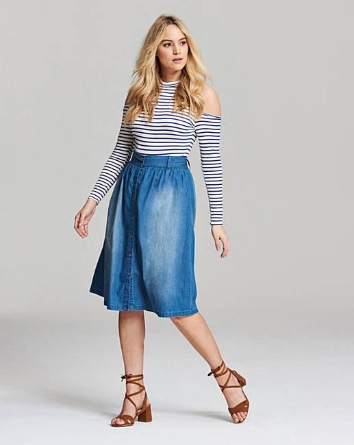 Button Front Denim Midi Skirt | Fashion World