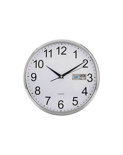 home silver day and date wall clock home beauty gift shop