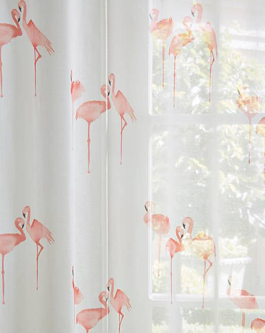 Flamingo Printed Eyelet Voile Panel Home Beauty Amp Gift Shop