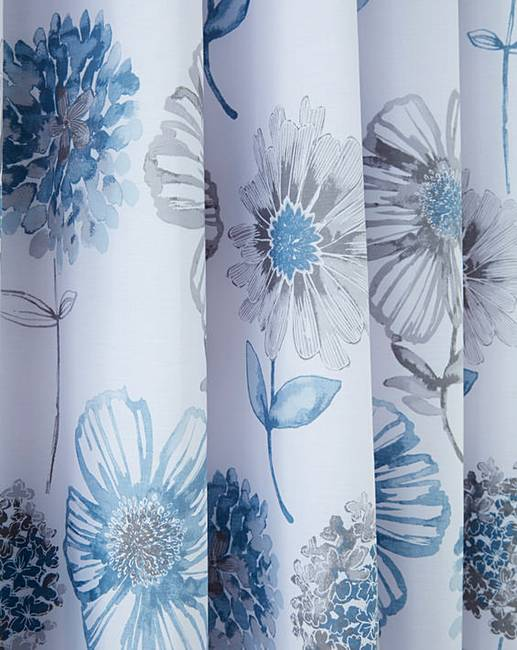 Banbury Pale Blue Floral Lined Eyelet Curtains