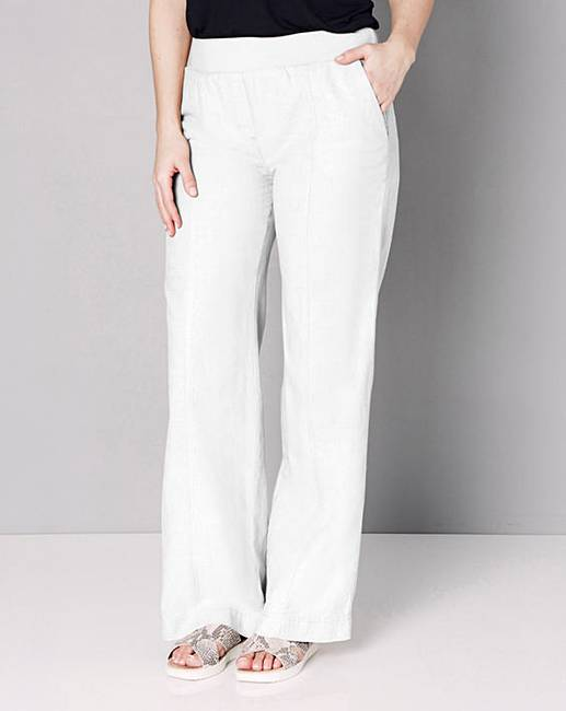 Slouch Linen Mix Wide Leg Trousers Long | Simply Be