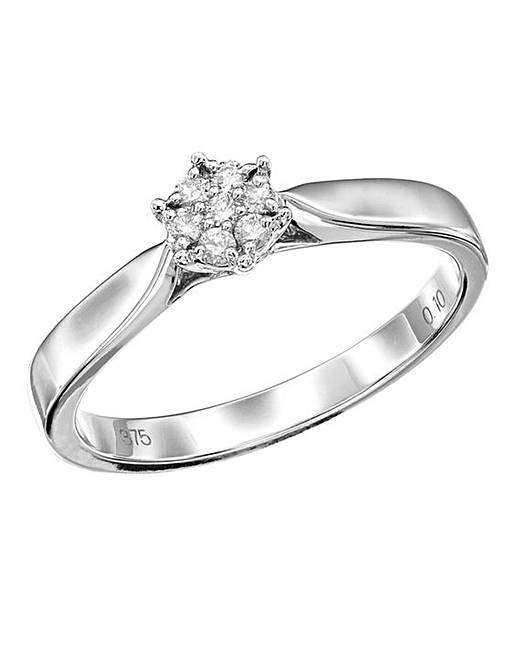 9 carat white gold cluster ring simply be