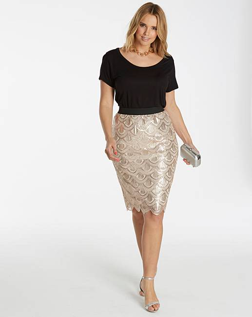 sequin midi skirt simply be