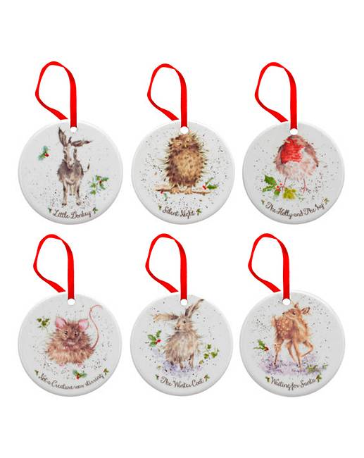 Wrendale ceramic christmas decorations j d williams