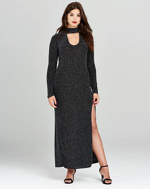Simply Be Glitter High Split Maxi Dress | Simply Be