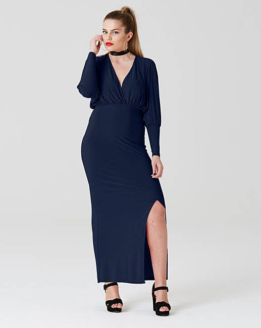 Simply Be by Night Plunge Wrap Over Maxi | Simply Be