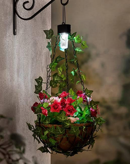 Hanging Flower Baskets With Lights : Hanging flower basket with solar light j d williams