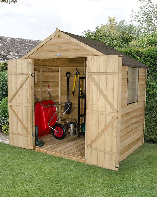 Forest overlap pressure 5x7 double door marisota for Garden shed 5x7