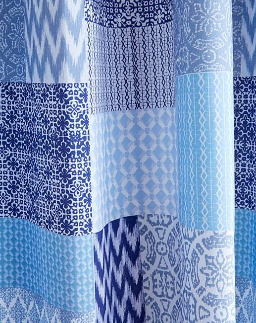 Seville Patchwork Lined Eyelet Curtains Home Beauty