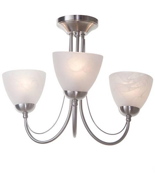 Ceiling lights under £20 : Lorca satin nickel ceiling light fifty plus
