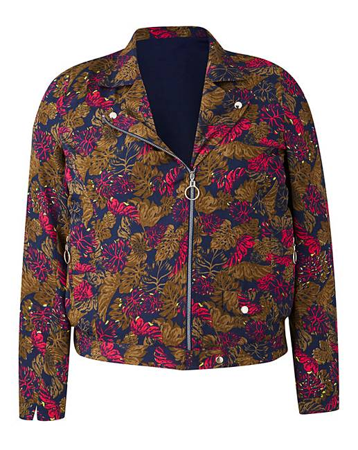 Print Lightweight Biker Jacket | Simply Be