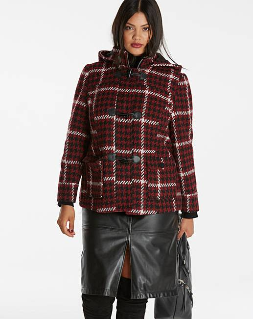 Check Short Duffle Coat | Simply Be