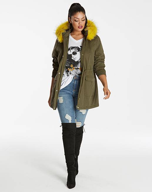 Coloured Faux Fur Trim Parka | Simply Be