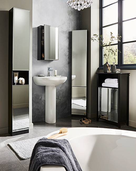 Ravello wall mirrored cabinet marisota for Bathroom cabinets tall boy