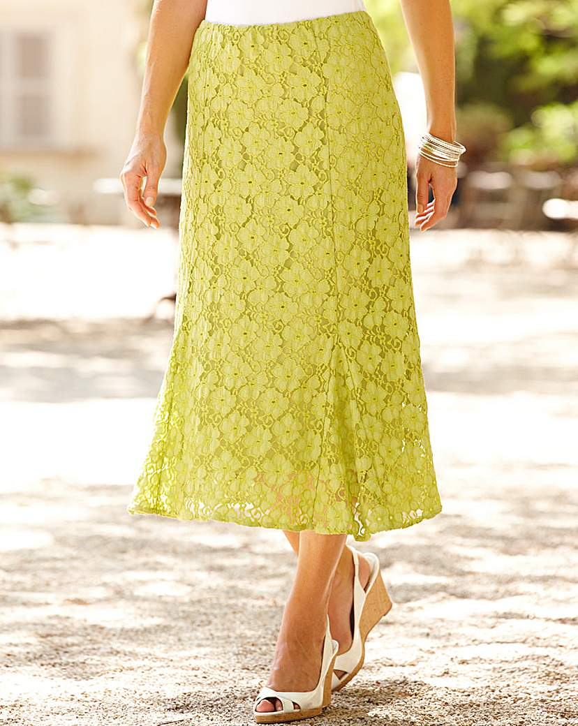 Lace Detail Skirt With Godets 29in