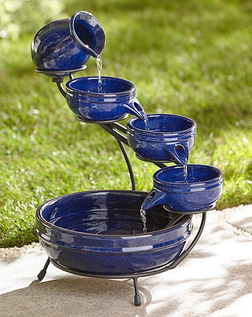 Image of Decorative Solar Ceramic Cascade Blue