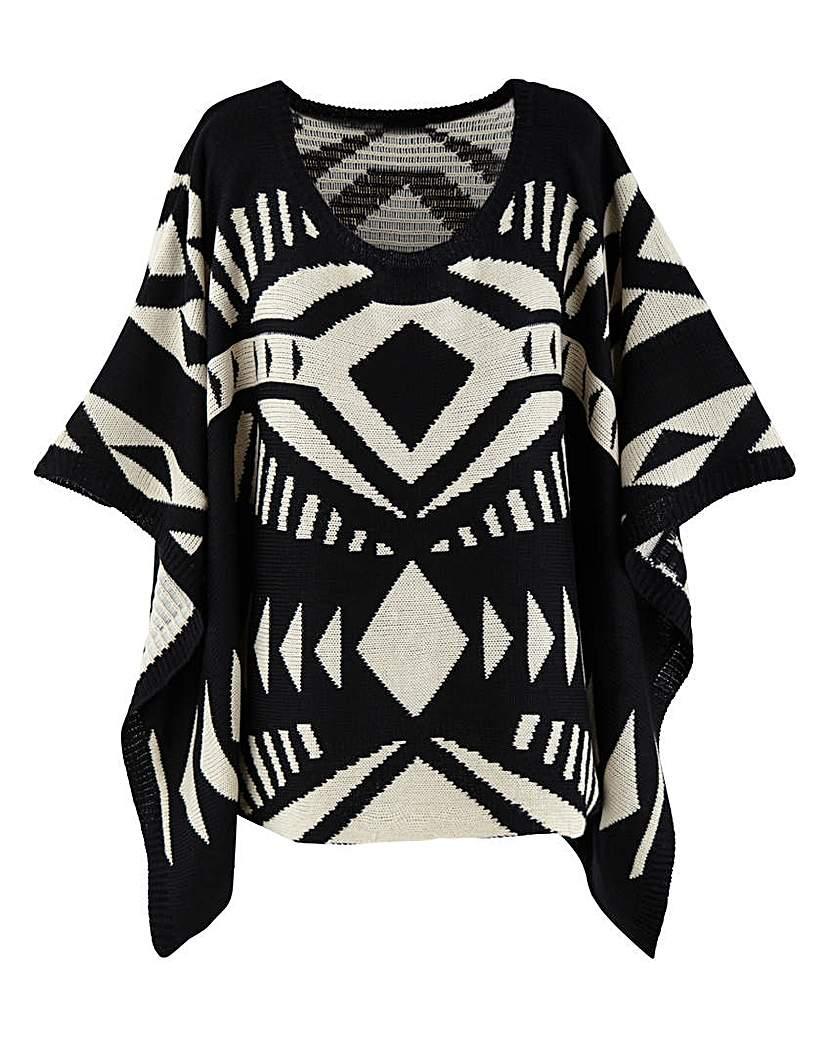 AX Paris Aztec Design Poncho