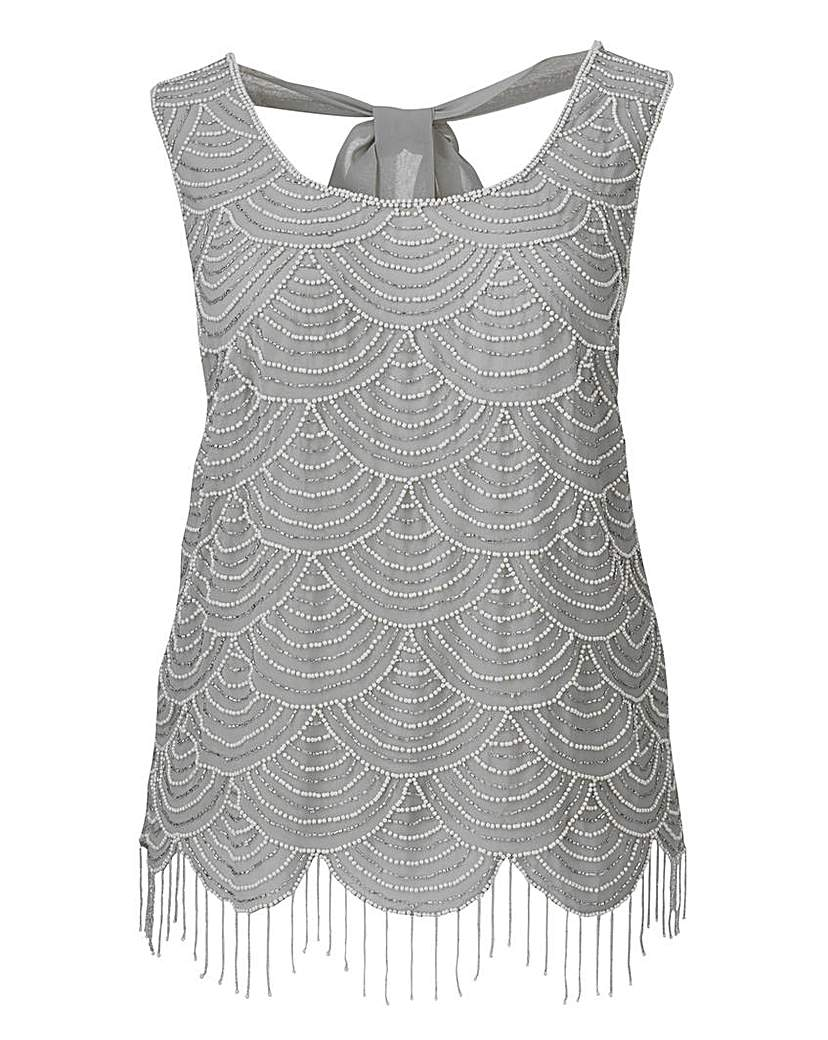 1920s Style Blouses Frock And Frill Beaded Scalloped Hem Top £37.00 AT vintagedancer.com