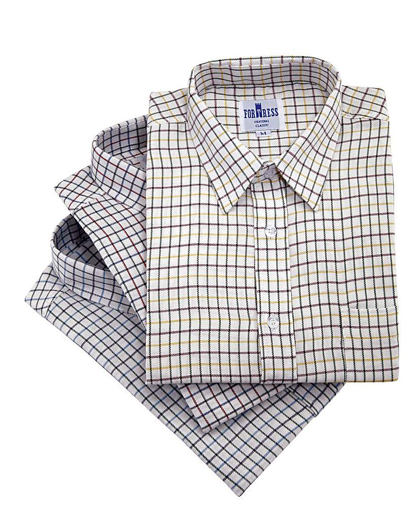 Image of Cotton Tattersall Shirts Pack of 3