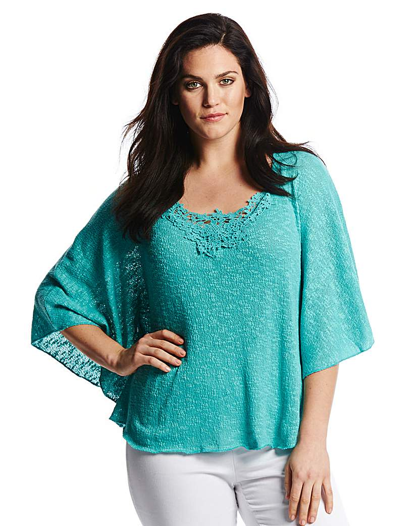 Pamplemousse Crochet Trim Knit Top
