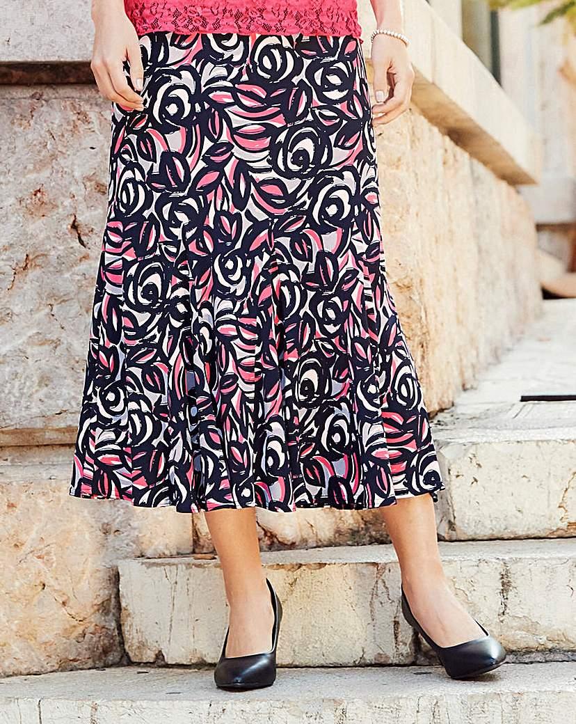 Nightingales Print ITY Skirt 32in