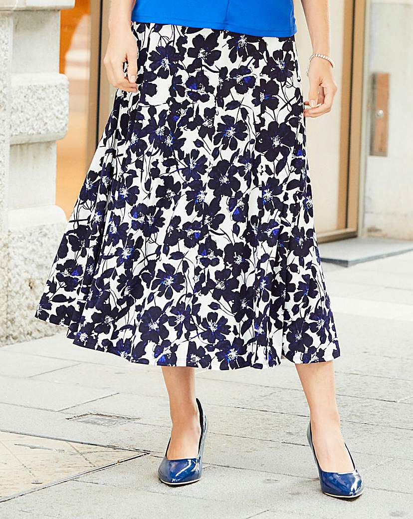 Nightingales Print ITY Skirt 32in