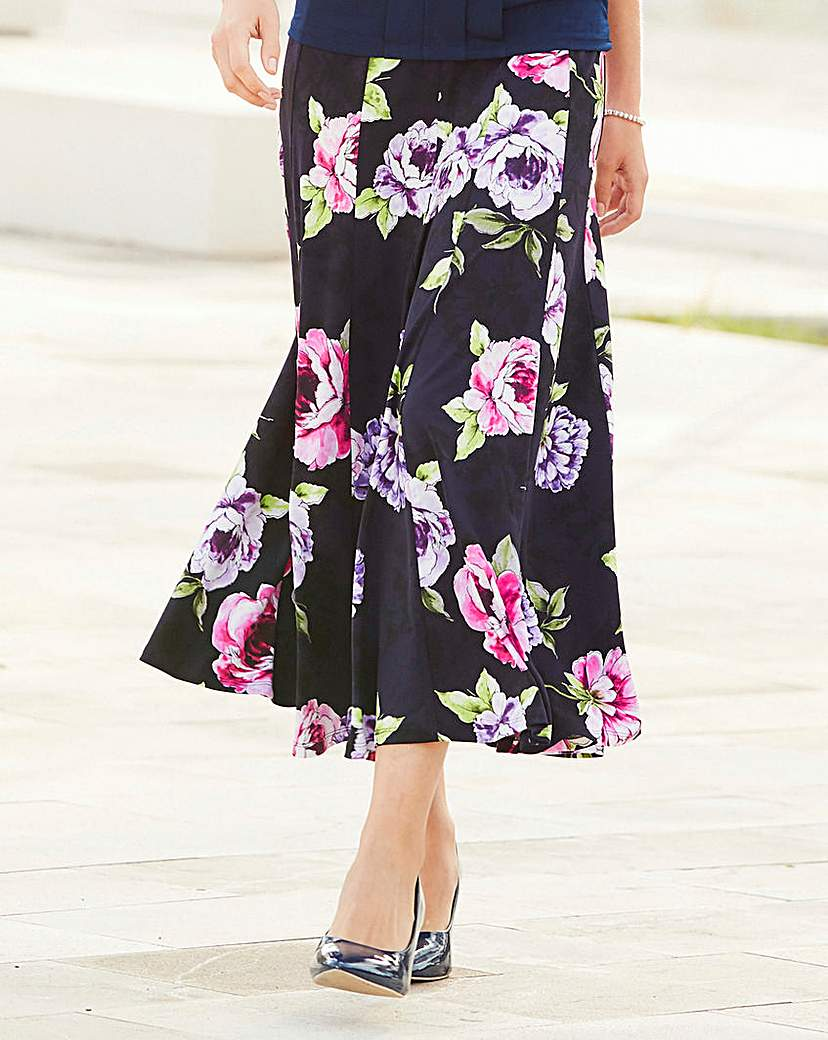Nightingales Print ITY Skirt 32in.