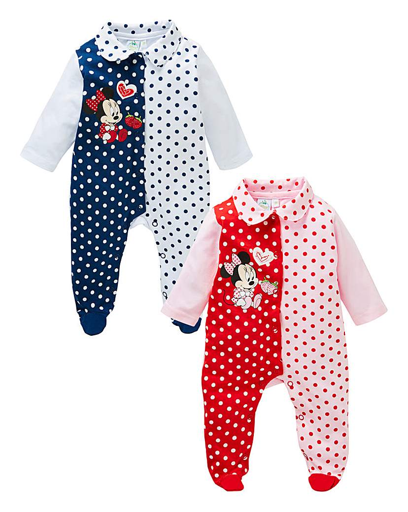Image of Minnie Mouse Pack of Two Sleepsuits