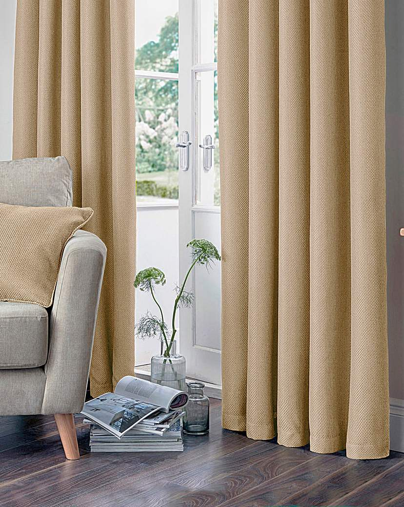 Basket Weave Lined Eyelet Curtains